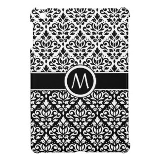 Scroll Damask 2Part Ptn BW & Band (Personalized) Cover For The iPad Mini