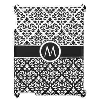 Scroll Damask 2Part Ptn BW & Band (Personalized) iPad Covers