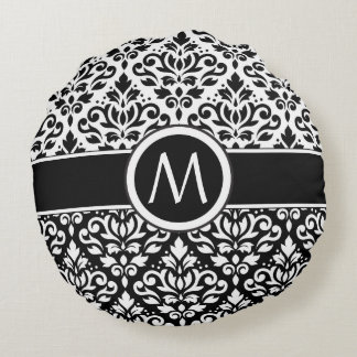 Scroll Damask 2Part Ptn BW & Band (Personalized) Round Pillow