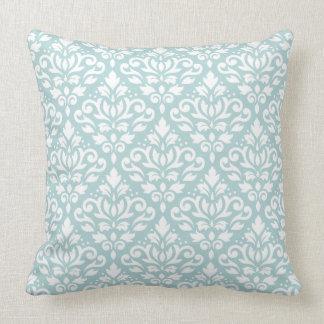 Scroll Damask 2Way Big Ptn Wt & Duck Egg Blue (B) Throw Pillow