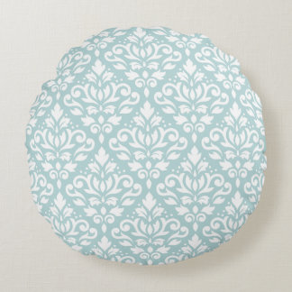 Scroll Damask 2Way Big Ptn Wt on Duck Egg Blue (B) Round Pillow