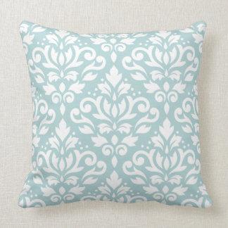 Scroll Damask 2Way Lg Ptn Wt & Duck Egg Blue (B) Throw Pillow