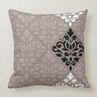 Scroll Damask Art Big Ptn Black White Taupes Throw Pillow