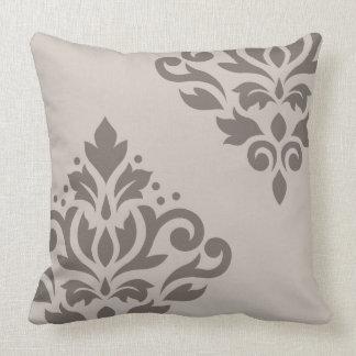Scroll Damask Art I 2Way Dk & Lt Taupe Throw Pillow
