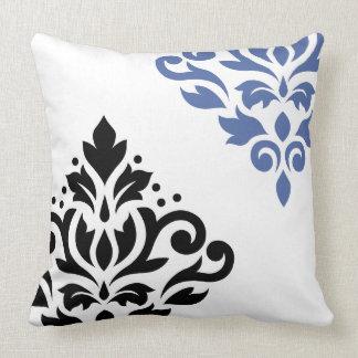 Scroll Damask Art I Black & Blue on White Throw Pillow