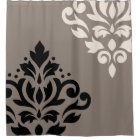 Scroll Damask Art I Black & Cream on Taupe