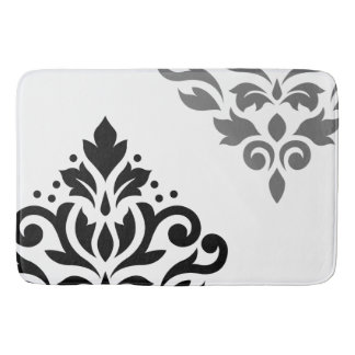 Scroll Damask Art I Black & Grey on White Bath Mat