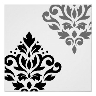 Scroll Damask Art I Black & Grey on White Poster