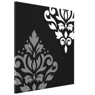 Scroll Damask Art I Black Grey White Gallery Wrapped Canvas