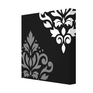 Scroll Damask Art I Black Grey White Canvas Prints
