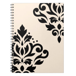 Scroll Damask Art I Black on Cream Notebook