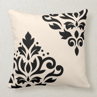Scroll Damask Art I Black on Cream Throw Pillow