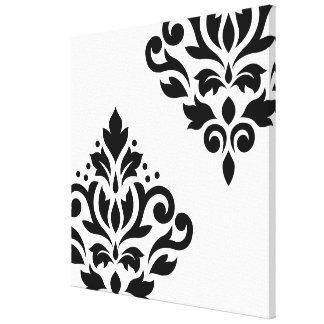 Scroll Damask Art I Black on White Canvas Prints