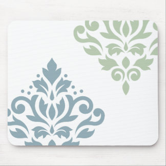Scroll Damask Art I Blue Green White Mouse Pad