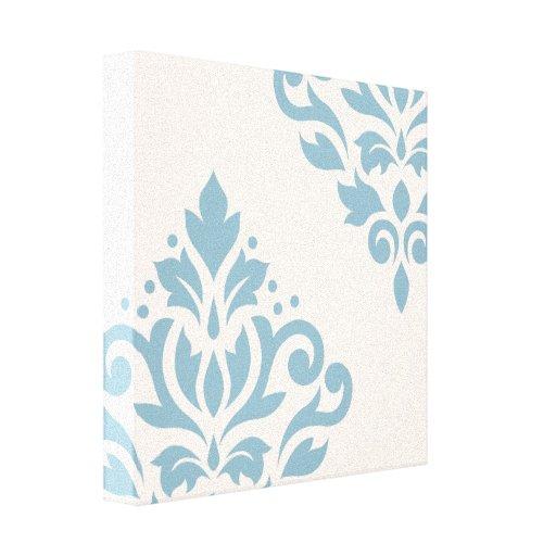 Scroll Damask Art I Blue on Cream Canvas Print