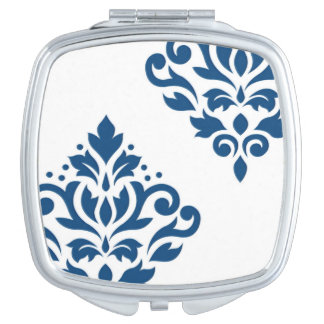 Scroll Damask Art I Blue on White Compact Mirror