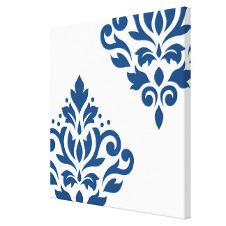 Scroll Damask Art I Blue on White (Pastel) Canvas Print