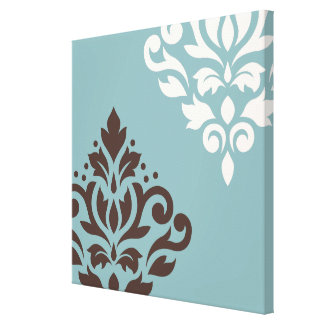 Scroll Damask Art I Brown Cream Teal Gallery Wrap Canvas