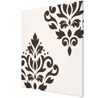 Scroll Damask Art I Brown on Cream Canvas Print
