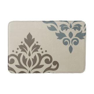 Scroll Damask Art I Brown Teal-Gray Sand Bath Mat