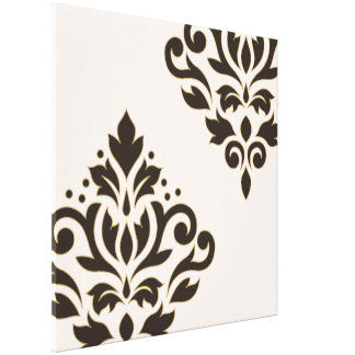 Scroll Damask Art I Brown with Gold on Cream Canvas Print