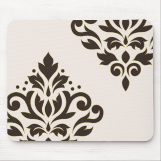 Scroll Damask Art I Brown with Gold on Cream Mouse Pad
