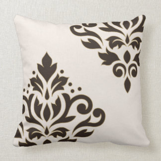 Scroll Damask Art I Brown with Gold on Cream Throw Pillow