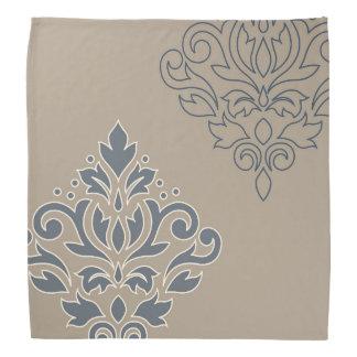 Scroll Damask Art I Cream Line Blues Sand Bandana