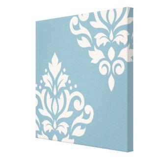 Scroll Damask Art I Cream on Blue Stretched Canvas Print