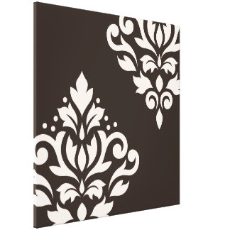 Scroll Damask Art I Cream on Brown Canvas Print
