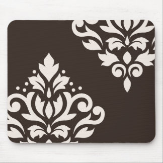 Scroll Damask Art I Cream on Brown Mouse Pad
