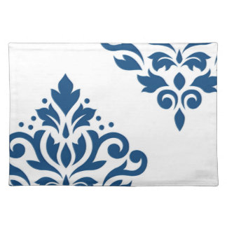 Scroll Damask Art I Dk Blue on White Placemat