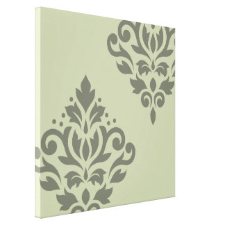 Scroll Damask Art I Dk on Lt Green Canvas Print