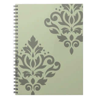 Scroll Damask Art I Dk on Lt Green Notebooks