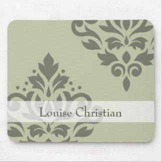 Scroll Damask Art I Dk on Lt Green (Personalized) Mouse Pad