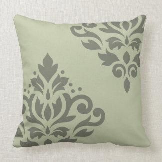 Scroll Damask Art I Dk on Lt Green Throw Pillow