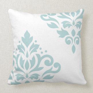 Scroll Damask Art I Duck Egg Blue (B) on White Throw Pillow