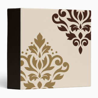 Scroll Damask Art I Gold & Brown on Cream Binders
