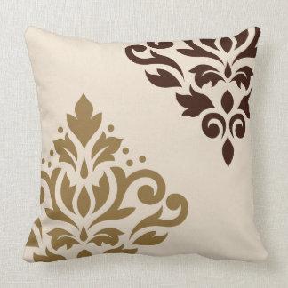 Scroll Damask Art I Gold & Brown on Cream Throw Pillow