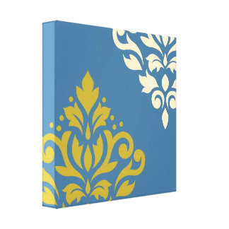 Scroll Damask Art I Gold & Cream on Blue Stretched Canvas Prints