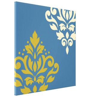 Scroll Damask Art I Gold & Cream on Blue Canvas Prints