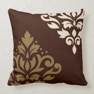 Scroll Damask Art I Gold & Cream on Brown Throw Pillow