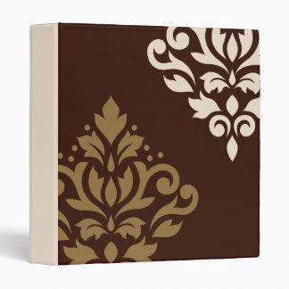 Scroll Damask Art I Gold & Cream on Brown Vinyl Binder