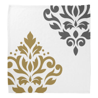 Scroll Damask Art I Gold & Grey on White Bandana