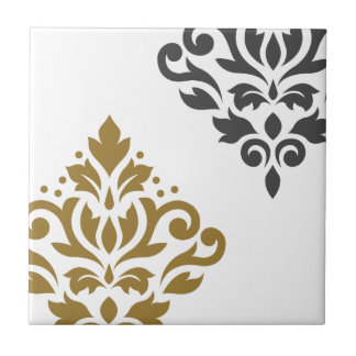 Scroll Damask Art I Gold & Grey on White Tiles