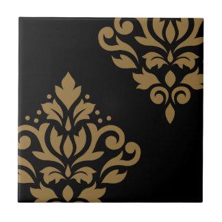 Scroll Damask Art I Gold on Black Tiles
