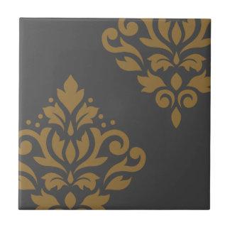 Scroll Damask Art I Gold on Grey Ceramic Tile