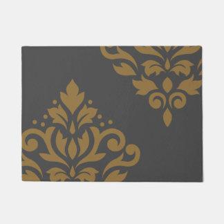 Scroll Damask Art I Gold on Grey Doormat