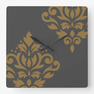 Scroll Damask Art I Gold on Grey Square Wall Clock