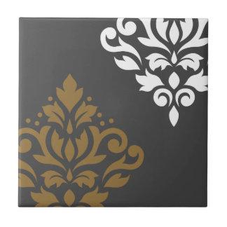 Scroll Damask Art I Gold & White on Grey Ceramic Tiles